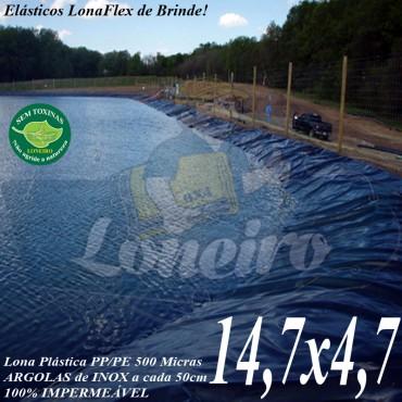 Lona para Lago Tanque de Peixes PP/PE: 14,7 x 4,7m Azul / Preta impermeável e atóxica para Tanque de Peixes Lagos Artificiais e Ornamentais
