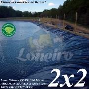 Lona para Lago Ornamental PP/PE 2,0 x 2,0m Azul / Cinza impermeável e atóxica para Tanque de Peixes, Lago Artificial e Armazenagem de Água