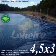 Lona para Lago Ornamental PP/PE 4,5 x 3,0m Azul / Cinza para Lagos Artificiais de Peixes Tanques Jardim Armazenagem de Água e Cisternas