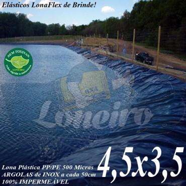 Lona para Lago Ornamental PP/PE 4,5 x 3,5m Azul / Cinza para Tanque de Peixes, Lago Artificial, Reservatório de Água, Açudes e Cisternas