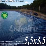 Lona para Lago Ornamental PP/PE 5,5 x 3,5m Cinza / Preto impermeável e atóxica para Tanque de Peixes, Lago Artificial Jardim e Cisterna de água