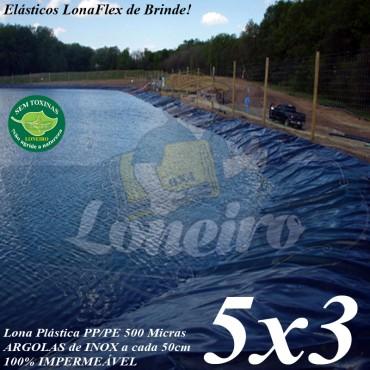Lona para Lago Ornamental PP/PE 5,0 x 3,0m Azul / Cinza impermeável Atóxica Lago Artificial para Peixes Açudes Cisternas Reservatórios de Água