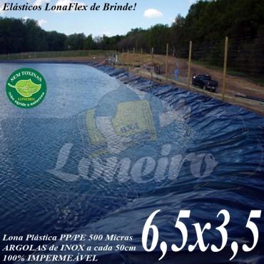 Lona para Lago Ornamental PP/PE 6,5 x 3,5m Azul / Cinza para Tanque Lagos Artificais de Peixes Armazenagem de Água e Cisternas