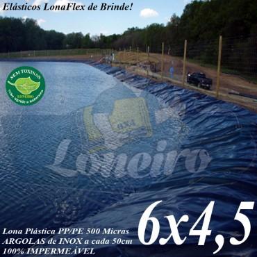 Lona para Lago Ornamental PP/PE 6,0 x 4,5m Azul / Preta impermeável e atóxica para Tanque de Peixes Lago Artificial e Cisterna de água