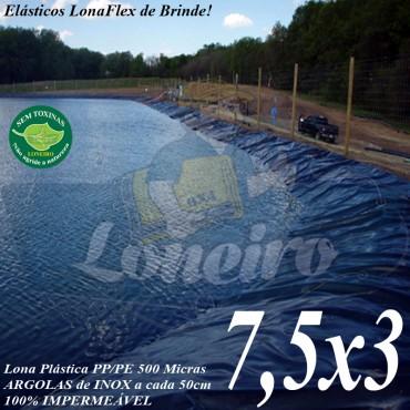 Lona para Lago Tanque de Peixes PP/PE 7,5 x 3,0m Azul / Preta impermeável e atóxica para Lago Artificial Ornamental e Cisterna de água