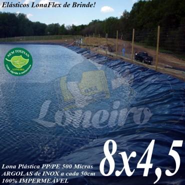 Lona para Lago Tanque de Peixes PP/PE 8,0 x 4,5m Azul / Cinza impermeável e atóxica para Tanque de Peixes Lago Artificial Ornamental
