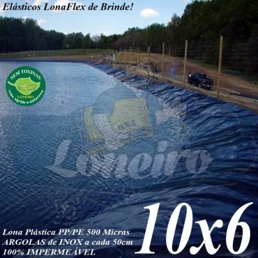 Lona para Lago Tanque de Peixes PP/PE: 10,0 x 6,0m Azul / Cinza para Lagos Artificiais, Armazenagem de Água e Cisterna