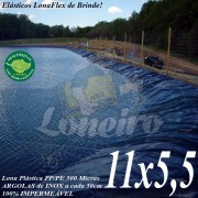 Lona para Lago Tanque de Peixes PP/PE: 11,0 x 5,5m Cinza / Preto Impermeável Atóxica para Lago Artificial Açudes Cisternas Reservatórios de Água