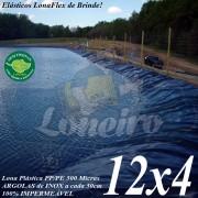 Lona para Lago Tanque de Peixes PP/PE: 12,0 x 4,0m Azul/Preto impermeável e atóxica para Lagos Artificiais, Armazenagem de Água e Cisterna