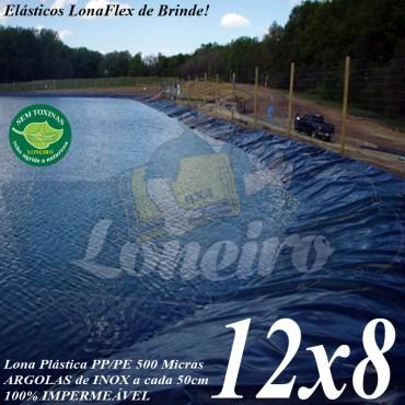 Lona para Lago Tanque de Peixes PP/PE: 12,0 x 8,0m Azul/Cinza ideal para Lagos Artificiais Tanque de Peixes Armazenagem de Água e Cisterna