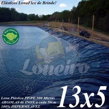 Lona para Lago Tanque de Peixes PP/PE: 13,0 x 5,0m Azul/Preto impermeável e atóxica para Lagos Artificiais, Armazenagem de Água e Cisterna