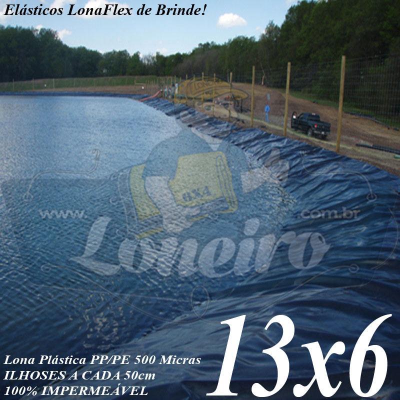 Lona para Lago Tanque de Peixes PP/PE: 13,0 x 6,0m Azul / Cinza para Reservatórios Água Potável Poço Cisterna Jardim