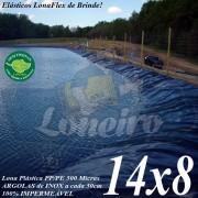 Lona para Lago Tanque de Peixes PP/PE: 14,0 x 8,0m Azul/Cinza impermeável e atóxica para Lagos Artificiais, Armazenagem de Água e Cisterna