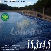 Lona para Lago Tanque de Peixes PP/PE: 15,3 x 4,5m Azul / Preto impermeável e atóxica para Lago Artificial Açudes Cisternas Reservatórios de Água