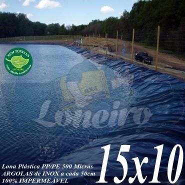 Lona para Lago Tanque de Peixes PP/PE: 15,0 x 10,0m Prata/Branca impermeável e atóxica para Lago Artificial Armazenagem de Água Cisterna