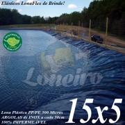 Lona para Lago Tanque de Peixes PP/PE: 15,0 x 5,0m Azul/Preto impermeável e atóxica para Lagos Artificiais, Armazenagem de Água e Cisterna