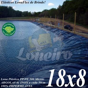 Lona para Lago Tanque de Peixes PP/PE: 18,0 x 8,0m Azul/Cinza impermeável e atóxica para Lagos Artificiais, Armazenagem de Água e Cisterna