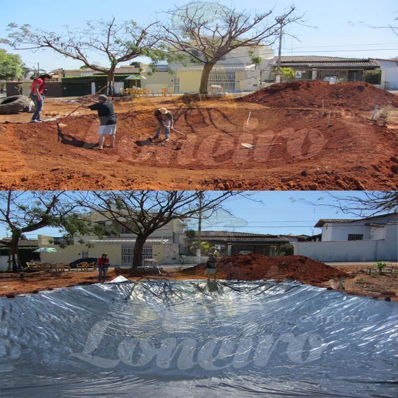 Lona para Lago Tanque de Peixes PP/PE: 10,0 x 4,0m Azul/Preto impermeável e atóxica para Lagos Artificiais, Armazenagem de Água e Cisterna