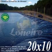 Lona para Lago Tanque de Peixes PP/PE: 20,0 x 10,0m Cinza/Azul Impermeável para Lagos Artificiais, Armazenagem de Água e Cisterna