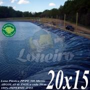 Lona para Lago Tanque de Peixes PP/PE: 20,0 x 15,0m Azul/Cinza impermeável e atóxica para Lago Artificial Gigante, Armazenagem de Água e Cisterna