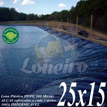 Lona para Lago Tanque de Peixes PP/PE: 25,0 x 15,0m Azul/Cinza para Lagos Artificiais, Armazenagem de Água e Cisterna