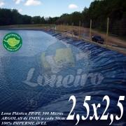 Lona para Lago Ornamental PP/PE 2,5 x 2,5m Azul/Cinza ideal para Lago Artificial Ornamental de Jardim Tanque de Peixes Ranários e Cisterna
