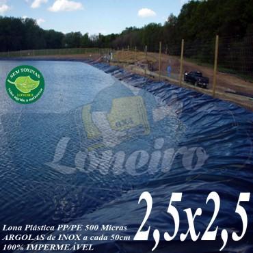 Lona para Lago Ornamental PP/PE 2,5 x 2,5m Azul/Cinza ideal para Lago Artificial de Jardim Tanque de Peixes e Cisterna