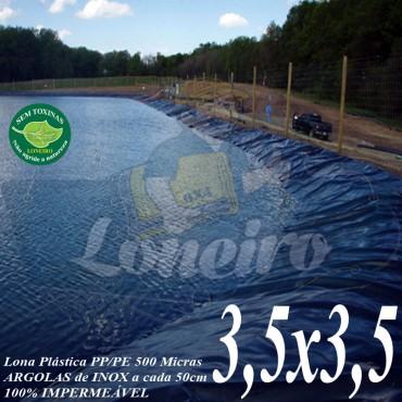Lona para Lago Ornamental PP/PE 3,5 x 3,5m Azul/Cinza ideal para Lago Artificial Ornamenatis de Jardim Tanque de Peixes Ranários Poços e Cisterna