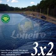 Lona para Lago Ornamental PP/PE 3,0 x 2,0m Azul/Cinza ideal para Lago Artificial de Jardim Tanque de Peixes e Cisterna