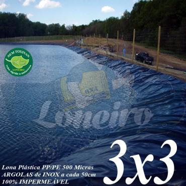 Lona para Lago Ornamental PP/PE 3,0 x 3,0m Azul/Cinza ideal para Lago Artificial Ornamentais de Jardim Tanque de Peixes Poços e Cisterna