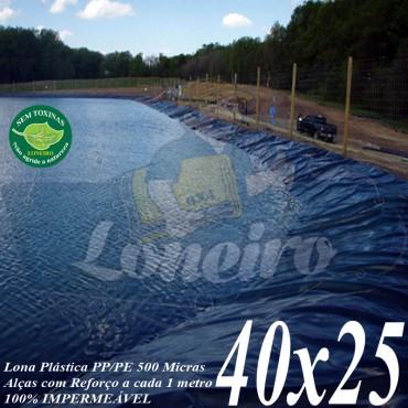 Lona para Lago Tanque de Peixes PP/PE: 40,0 x 25,0m Azul/Cinza para Lagos Artificiais, Armazenagem de Água e Cisterna