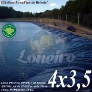 Lona para Lago Ornamental PP/PE 4,0 x 3,5m Azul / Cinza para Tanque de Peixes Lago Artificial Açudes Cisternas Reservatórios de Água