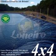 Lona para Lago Ornamental PP/PE 4,0 x 4,0m para Lagos Artificiais de Peixes Tanques Jardim Armazenagem de Água e Cisternas