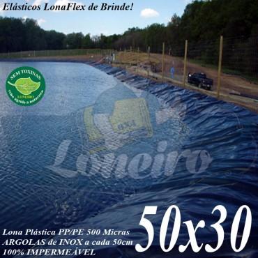 Lona para Lago Tanque de Peixes PP/PE: 50,0 x 30,0m Azul/Preto impermeável Tanque Gigante de Peixes Lagos Artificiais Armazenagem de Água e Cisterna