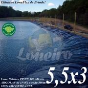 Lona para Lago Ornamental PP/PE 5,5 x 3,0m Azul / Cinza impermeável sem toxinas Tanque de Peixes Lago Artificial Cisternas Reservatórios de Água