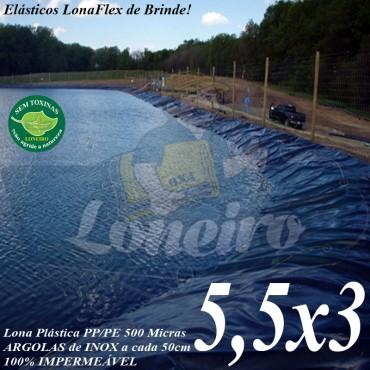 Lona para Lago Ornamental PP/PE 5,5 x 3,0m Cinza / Preto impermeável sem toxinas Tanque de Peixes Lago Artificial Cisternas Reservatórios de Água