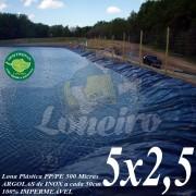 Lona para Lago Ornamental PP/PE 5 x 2,5m Azul/Cinza ideal para Lago Artificial de Jardim Tanque de Peixes e Cisterna