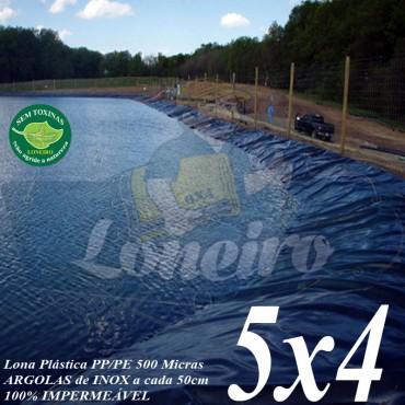 Lona para Lago Ornamental PP/PE 5,0 x 4,0m Azul/Cinza ideal para Lago Artificial de Jardim Tanque de Peixes e Cisterna