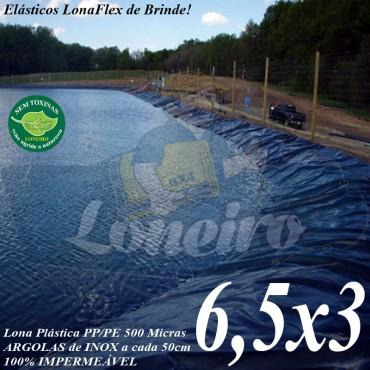 Lona para Lago Ornamental PP/PE 6,5 x 3,0m Cinza / Preto impermeável sem toxinas Tanque de Peixes Lago Artificial Açudes Reservatórios de Água
