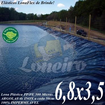 Lona para Lago Ornamental PP/PE 6,8 x 3,5m Azul / Cinza impermeável e atóxica para Tanque de Peixes Lago Artificial Jardim Casa Açudes Cisternas
