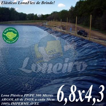 Lona para Lago Ornamental PP/PE 6,8 x 4,3m Azul/Cinza para Tanque de Peixes, Lagos Artificiais, Armazenagem de Água e Cisterna