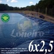 Lona para Lago Ornamental PP/PE 6,0 x 2,5m Azul/Cinza ideal para Lagos Artificiais Tanque de Peixes Armazenagem de Água e Cisterna