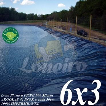 Lona para Lago Ornamental PP/PE 6,0 x 3,0m Azul/Cinza ideal para Lagos Artificiais Tanque de Peixes Armazenagem de Água e Cisterna