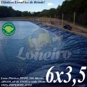 Lona para Lago Ornamental PP/PE 6,0 x 3,5m Azul / Preto impermeável e atóxica para Tanque de Peixes Lago Artificial Açudes Cisternas Reservatórios de Água