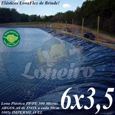 Lona para Lago Ornamental PP/PE 6,0 x 3,5m Cinza / Preto 60 extensor 30cm - Tanque de Peixes Lago Artificial Açudes Cisternas Reservatórios de Água