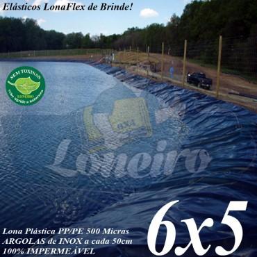 Lona para Lago Ornamental PP/PE 6,0 x 5,0m Prateada / Branca sem toxinas para Tanque de Peixes, Lagos Artificiais, Armazenagem de Água e Cisterna
