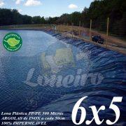 Lona para Lago Tanque de Peixes PP/PE 6,0 x 5,0m Azul/Cinza para Lagos Artificiais, Armazenagem de Água e Cisterna