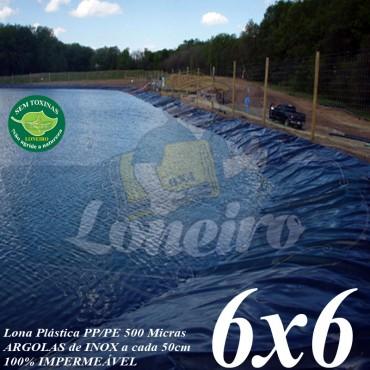 Lona para Lago Ornamental PP/PE 6,0 x 6,0m Azul / Cinza para Tanque de Peixes, Lago Artificial, Reservatório de Água, Açudes e Cisternas