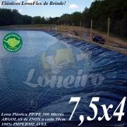 Lona para Lago Tanque de Peixes PP/PE 7,5 x 4,0m Cinza / Preto impermeável e atóxica para Lago Artificial Açudes Cisternas Reservatórios de Água