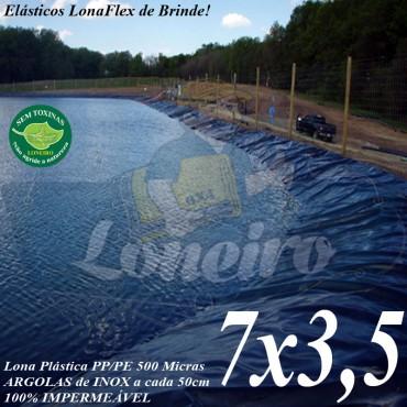 Lona para Lago Tanque de Peixes PP/PE 7,0 x 3,5m Cinza / Preto impermeável e atóxica para Lago Artificial Açudes Cisternas Reservatórios de Água